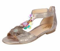Sandalette mit Blütenapplikationen sand