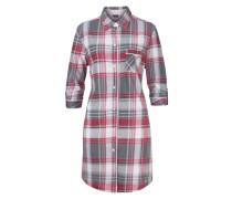 Kariertes Nachthemd mit Hemdkragen und Knopfleiste grau / rot / weiß