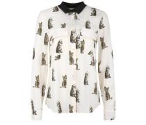 Bluse mit Katzen-Muster braun / weiß
