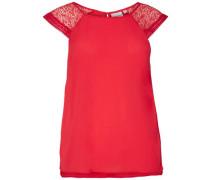 Bluse ohne Ärmel Spitzen-Detail rot