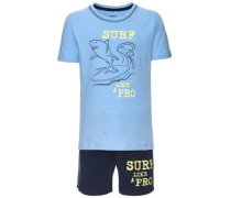 kurzärmeliges Shorts-Set 'nitzelars' rauchblau