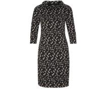 Jerseykleid mit Stehkragen braun / schwarz / weiß