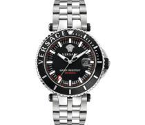 Schweizer Uhr 'v-Race Driver Vak030016' neonorange / schwarz / silber / weiß