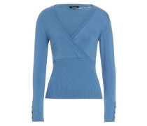 Pullover in Wickeloptik blau