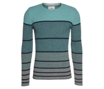 Pullover 'struc cnk strip' türkis / schwarz