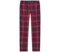 Pyjama »Sporty flannel pant check« dunkelblau / feuerrot