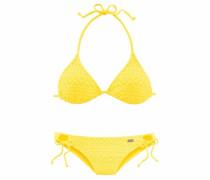Triangel-Bikini in Häkeloptik gelb