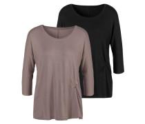 Shirt schwarz / taupe