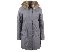 Warmer Mantel mit Fake Fur-Kapuze grau