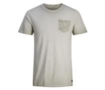 Blumentaschen-T-Shirt oliv / hellgrün