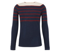 Pullover 'striped slub crewneck' dunkelblau / rot / weiß