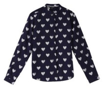 Bluse 'long Sleeve Blouse' navy / weiß