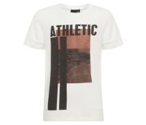 T-Shirt Print- braun / weiß