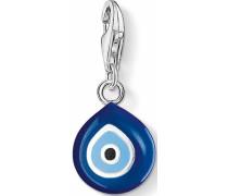 Charm-Einhänger 'Türkisches Auge 0829-007-1' blau / hellblau / schwarz / silber / weiß