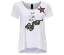 Rundhalsshirt grün / rot / schwarz / weiß