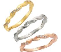 Ring-Set mit Zirkonia (3tlg.) gold / silber