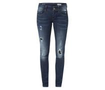'Lynn' Skinny Jeans mit Used Waschung blau