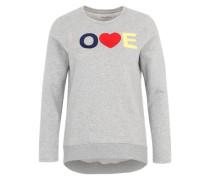 Sweatshirt mit Aufnäher graumeliert