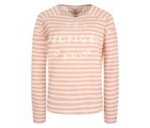 Sweatshirt mit Signature-Stitching pink / weiß