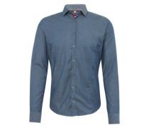 Slim Fit Hemd mit Haifisch-Kragen rauchblau