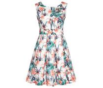 Dress Kleid mit floralem Muster smaragd / koralle / weiß