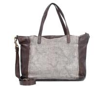 Traditional Shopper Tasche Leder 35 cm braun / silber