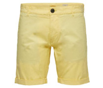 Regular Fit-Chinoshorts gelb