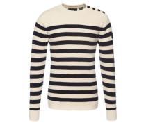 Pullover 'Dadin solid stripe r knit l/s' weiß