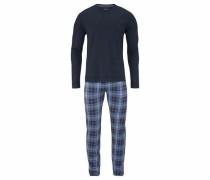 Pyjama lang im Karodesign blau