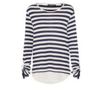 Pullover mit blusenartigem Saum navy / weiß