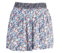 Geblümte Shorts 'Lupa' creme / blau