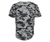 Detailreiches T-Shirt grau / anthrazit