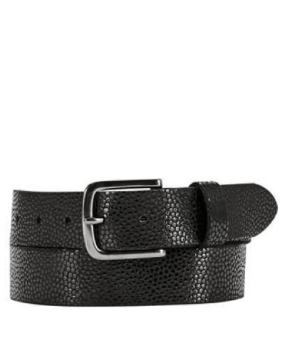 Ledergürtel mit Metallic-Muster schwarz