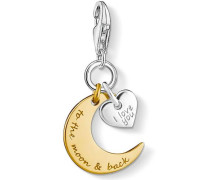 Charm-Einhänger 'I Love YOU TO THE Moon & Back 1443-413-39' gold / silber