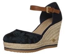 Sandalette mit Keilabsatz in Bast-Optik blau