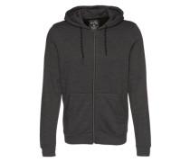 Sweatshirtjacke 'mélange' schwarz