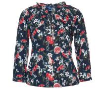 Blumen-Bluse dunkelblau / grün / rot / weiß