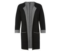 Strickjacke mit Wolleanteil grau / schwarz