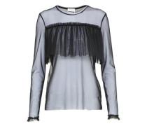 Mesh-Shirt 'rue' mit Rüschen schwarz