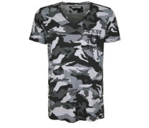 T-Shirt mit Tarnmuster schwarz