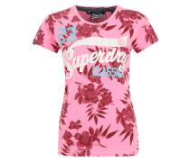 T-Shirt mit Allover Blumen-Print 'Rocker' beere / rosa