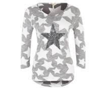 Langarmshirt mit Paillettenbesatz anthrazit / weiß