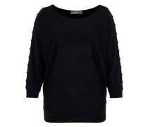 Fledermaus-Pullover mit Perlenverzierung schwarz / perlweiß