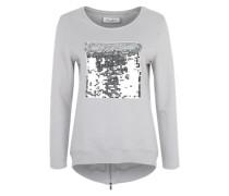Sweatshirt mit Pailletten hellgrau