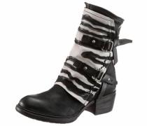 Stiefelette schwarz / weiß