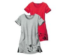 Nachthemd (2 Stck.) grau / rot