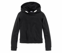 Kapuzensweatshirt in kurzer Form für Mädchen schwarz