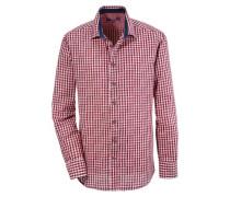 Trachtenhemd Herren mit Kontraststeppung rot