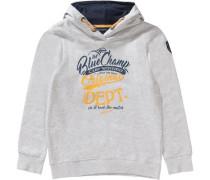 Kapuzenpullover für Jungen dunkelblau / grau / hellorange