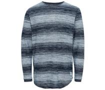 Detailreicher Strickpullover blau / graumeliert